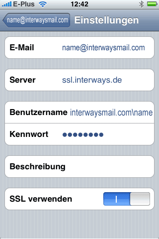 iPhone Einstellung Screenshot 1