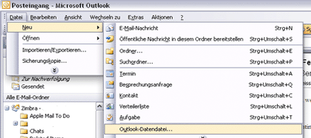 Outlook Datendatei Screenshot